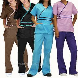 Medical Scrubs Set Women Contrast Mock Wrap Top &  Pant Sets