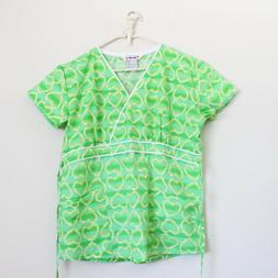 Just Love Medical Uniform Scrub Top Hearts Printed Green Yel