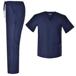 Men V Neck Nursing Stretch Scrubs Set Medical Uniforms Stret