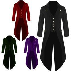 Men Vintage Tuxedo Tail Jacket Coat Long-sleeved Steampunk G