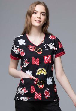 Mickey Mouse Cherokee Scrubs Tooniforms Disney V Neck Top TF