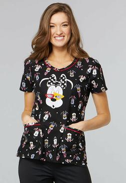 Minnie Mouse Cherokee Scrubs Tooniforms Disney V Neck Top TF