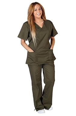 Natural Uniforms Women Mock Wrap/Flare Pant Set Medical Scru