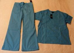 Natural Uniform Women's S/S Mock Wrap Scrub Set DD5 Water Bl