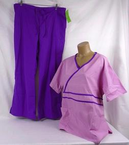 Natural Uniforms Contrast Trim Mock Wrap Top Scrub Set Lilac