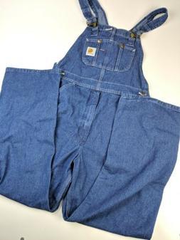 NEW Carhartt Blue Denim Bib Jeans Overalls Sz 32x30  13808