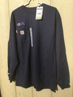 New Carhartt Flame Resistant FR Force Dark Blue Long Sleeve