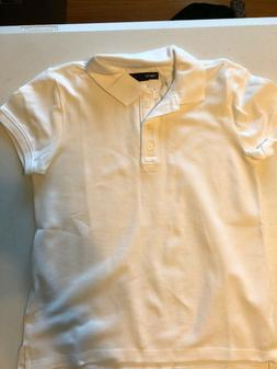 New Gap Kids Girl's M 8 L 10 Plus Polo Uniform Shirt S/S Whi