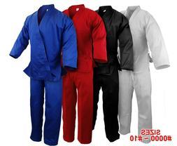 New Martial Arts Karate 7.5 oz Gi Uniform w/White Belt WH/BK