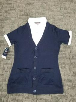 New French Toast, Navy button up Cardigan Blouse For school