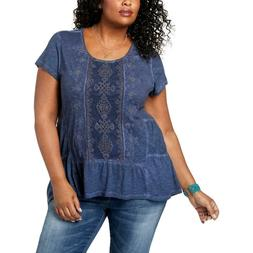 NEW Style & Co T-Shirt Plus Size 1X Embroidered Tiered Unifo