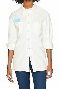 Calvin Klein NEW White Womens Size Large L Uniform Button Do