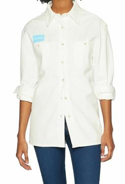 Calvin Klein NEW White Womens Size Medium M Uniform Button D