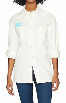 Calvin Klein NEW White Women's Size Medium M Uniform Button
