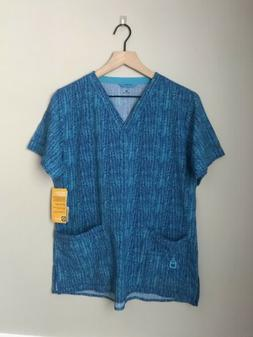 NWT Carhartt Womens Scrub Nursing/Clincial Top Blue Chevron
