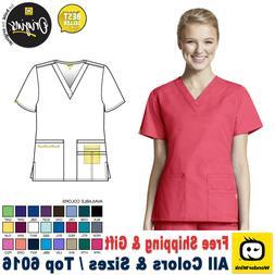 WonderWink Scrubs ORIGINS Women's Medical Bravo Solid V-Neck