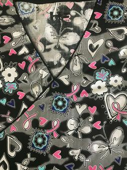 PLUS SIZED PRINTED MEDICAL NURSING SCRUB TOP HEARTS & BUTTER