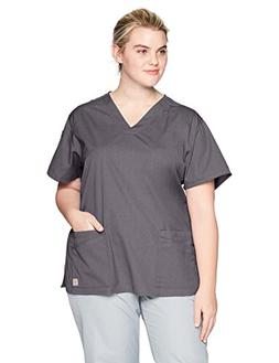 Carhartt Size Rockwall Women's Plus V Neck Scrub Top, Pewter