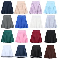 School Uniform Girls Cute Midi Skirt Harajuku Solid Pleated