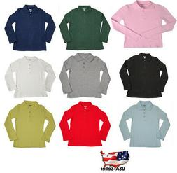 French Toast School Uniform Girls Long Sleeve Interlock Polo