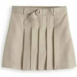 school uniform pleated tan skirt skort girls belted clothes