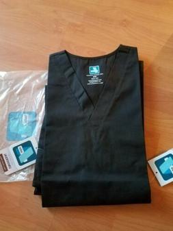 Scrub Set Black Unisex M Adar Uniforms V Neck Top Drawstring