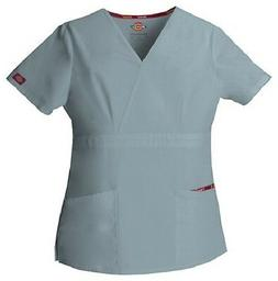 Dickies Scrubs 86806 Grey V Neck Scrub Top Dickies EDS Signa