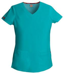 Dickies Scrubs EDS Women's Scrub Top 85906 Teal Blue TLWZ Di