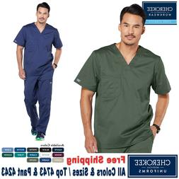 Cherokee Scrubs Set CORE STRETCH Men's V Neck Top & Cargo Pa