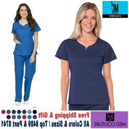 Med Couture Scrubs SET  EZ FLEX Stretch TOP & PANT Medical N