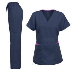 Medical Uniform Women's Scrubs Set Stretch Contrast Pocket N