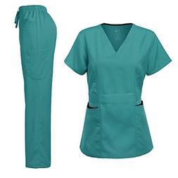 Medical Uniform Women's Scrubs Set Stretch Contrast Pocket T
