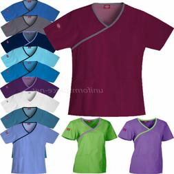 Dickies Scrubs Shirts Womens Mock Wrap Tops 15206 Medical Un