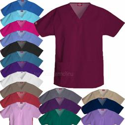 Dickies Scrubs Shirts Womens V-NECK 2 Pockets Top EDS Medica