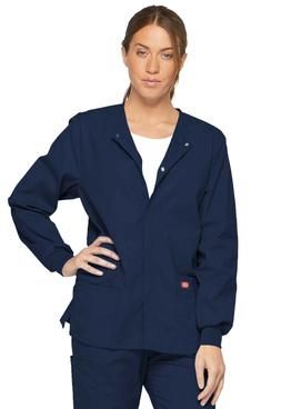 Dickies Scrubs Snap Front Warm Up Jacket 86306 NVWZ Navy Fre