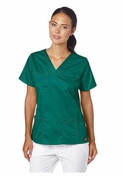 Dickies Scrubs Women's Gen Flex Junior Fit Contrast Stitch V