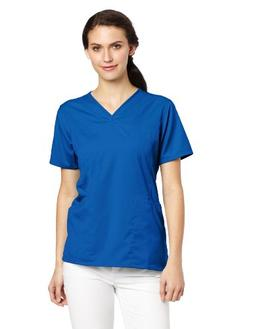 Carhartt Women's Scrubs Workflex 4 Pocket Y-Neck Top, Royal,