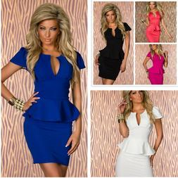 Sexy Women's Clothing V-neck Bodycon dress falbala short min