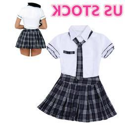 Sexy Women's School Girl Students Uniform Halloween Cosplay