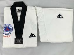 Adidas Size 0 Taekwondo Uniform Ribbed Dobok White Black V-n