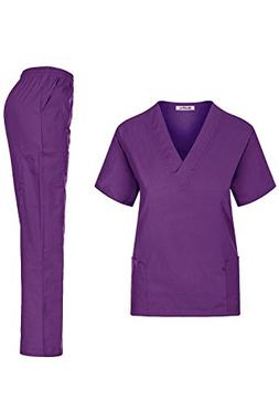 MedPro Women's Unisex Solid Medical Scrub Set V-Neck Top and