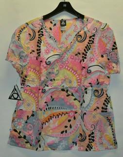 Cherokee Studio Women's Uniform Scrubs Top Pink S L XL 100%