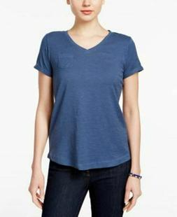 Style & Co Women's Petite V Neck Pocket T-Shirt New Uniform