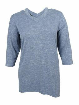 Style & Co. Women's Plus Size Space-Dyed V-Neck Top