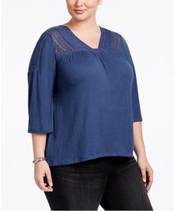 Style & Co Women's Plus Size Crochet-Trim Top,New Uniform Bl
