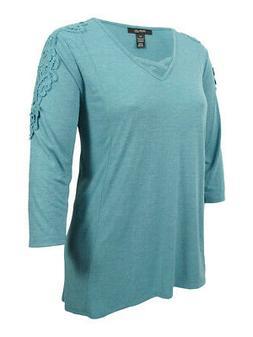 Style & Co. Women's Plus Size Crocheted Bridge-Hem Top