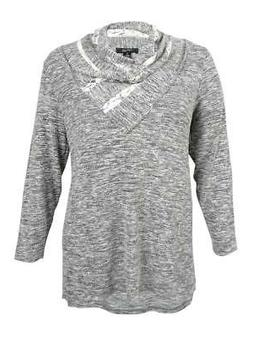 Style & Co. Women's Plus Size Cowl-Neck Marled Top