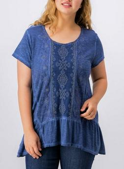 Style & Co Women's Plus Size Embellished Scoop-Neck Top,