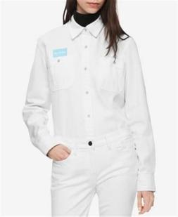 Calvin Klein Uniform Denim Button Up Shirt White Womens Smal