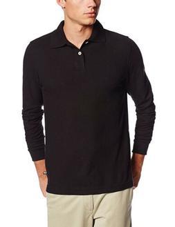 Lee Uniforms Men's Long Sleeve Polo, Navy, Large